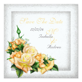 Save The Date Wedding White Gold Yellow Green Rose 13 Cm X 13 Cm Square Invitation Card