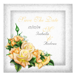 Save The Date Wedding White Gold Yellow Green Rose Personalized Announcements