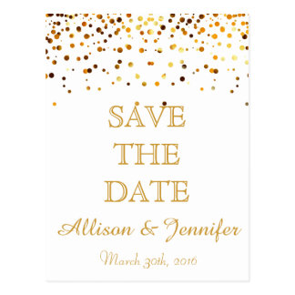 Save the date White and Gold Glitter Faux Foil Postcard