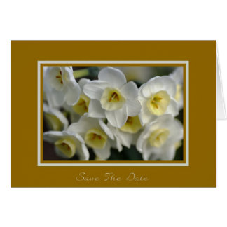 Save the date - White Daffodils Greeting Card