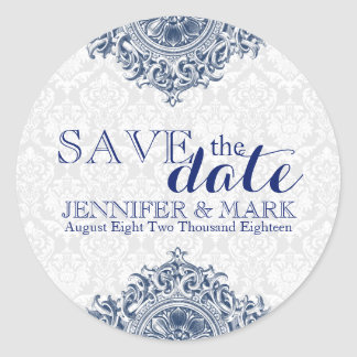 Save The Date White Damasks & Blue Lace Ornament Round Sticker