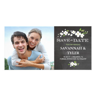 Save the Date | White Floral Blossoms Photo Card