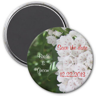 Save the Date White Mountain Laurel Wedding Magnet 3 Inch Round Magnet