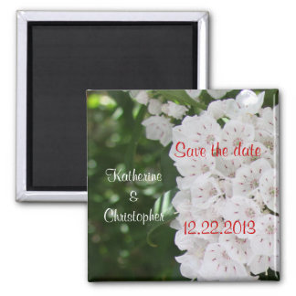 Save the Date White Mountain Laurel Wedding Magnet 2 Inch Square Magnet