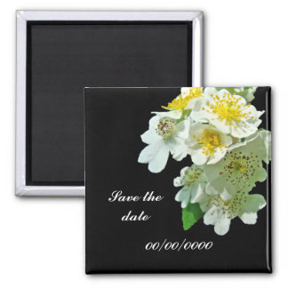Save the Date White Multiflora Roses Wildflower Fridge Magnets