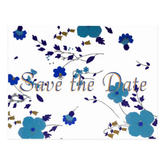Save the Date White Orchid on Jewel Blue Post Cards