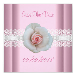 Save The Date White Pink Rose Flower Lace 5.25x5.25 Square Paper Invitation Card
