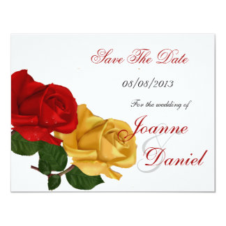 Save The Date White Red Yellow Rose Floral 11 Cm X 14 Cm Invitation Card