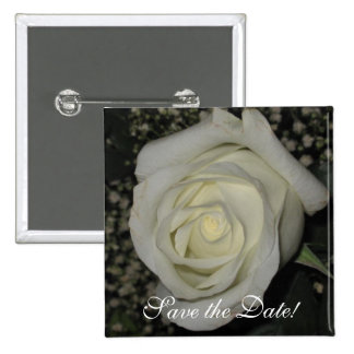 Save the Date White Rose Pin