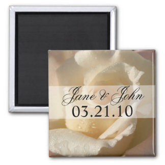 Save the Date White Rose Square Magnet