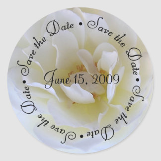 Save the Date White Rose Sticker