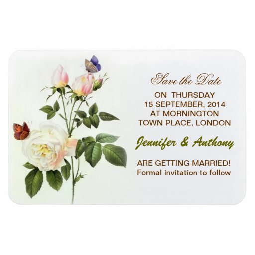 save the date white roses magnets