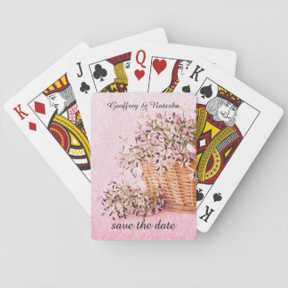 Save the date wildflowers in basket poker deck