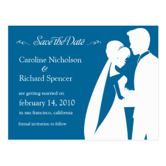 Save the Date Winter Blue Wedding Postcard