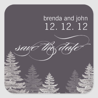 Save the Date Winter Wedding Sticker Trees