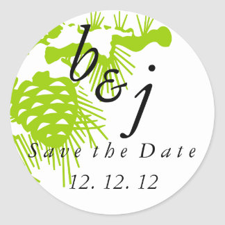 Save the Date Winter Wedding Stickers Green