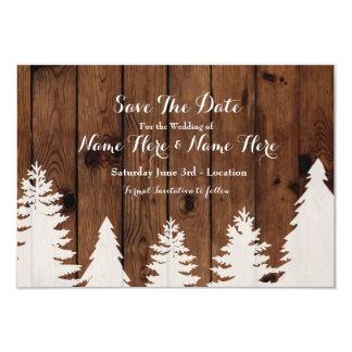 Save The Date Winter Wedding Wood Rustic Invite