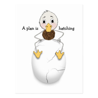 Save the Date with Duck Hatching a Plan Postcard