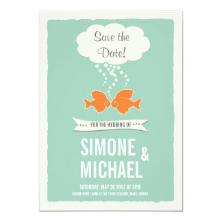 Save the Date with kissing Fish 13 Cm X 18 Cm Invitation Card