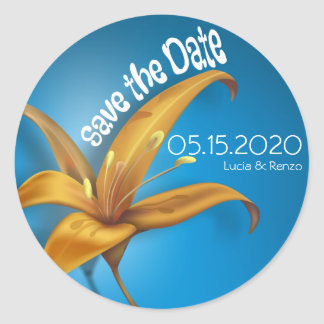 Save The Date, with lily on a blue background Round Sticker