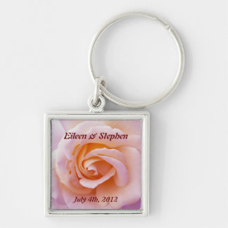 Save the date with Pink and Peach Garden Rose Silver-Colored Square Key Ring