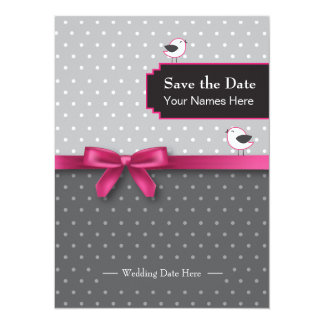 save the date with polka dots and birds 14 cm x 19 cm invitation card