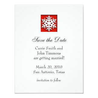 "Save the Date with Snowflake, Red 4.25"" X 5.5"" Invitation Card"