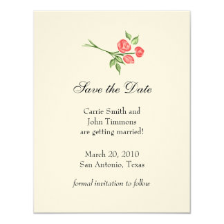 """Save the Date with Three Red Roses 4.25"""" X 5.5"""" Invitation Card"""