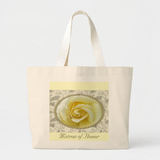 Save the date with Yellow Rose, Pearls & Satin Bag