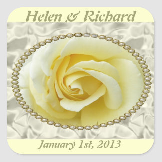 Save the date with Yellow Rose, Pearls & Satin Square Sticker