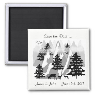 Save the Date Woodland Moutain Deer Wedding Magnet