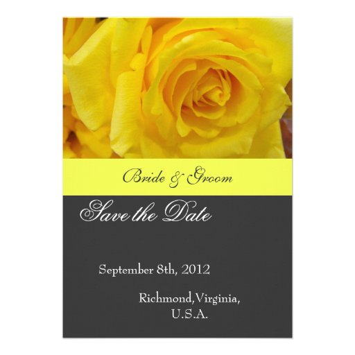Save the date, yellow rose flower invitations