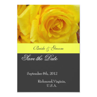 Save the date, yellow rose flower 5x7 paper invitation card