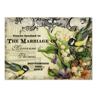 Save the Date, Yellow Song Bird Cage Swirl Floral 13 Cm X 18 Cm Invitation Card