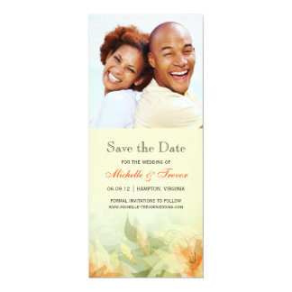 """Save the Date - Yellow Tangerine Floral Photo 4"""" X 9.25"""" Invitation Card"""