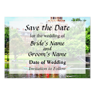 Save the DateBoston MA - Boston Public Garden 13 Cm X 18 Cm Invitation Card