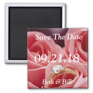 Save The Dates Diamond Engagement Roses Photo Square Magnet