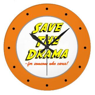 Save the Drama Sarcastic Office Humor Clock