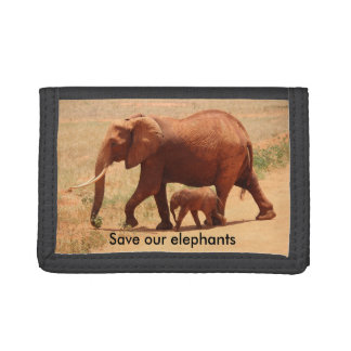 Save The Elephant Black TriFold Nylon Wallet