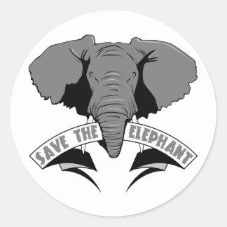 Save The Elephant Round Sticker