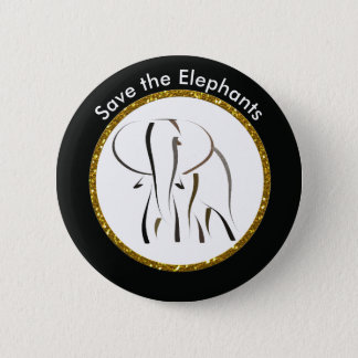 Save the Elephants 6 Cm Round Badge
