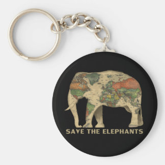 Save The Elephants Basic Round Button Key Ring
