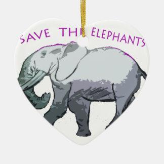 Save the Elephants! Ceramic Ornament