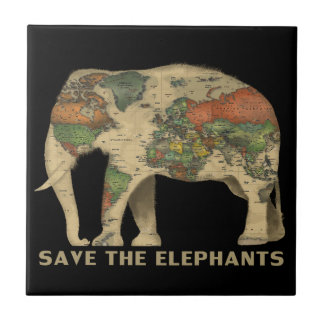Save the elephants Ceramic Photo Tile