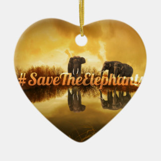Save The Elephants Design Ceramic Heart Decoration