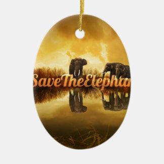 Save The Elephants Design Ceramic Oval Decoration