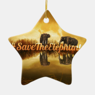 Save The Elephants Design Ceramic Star Decoration
