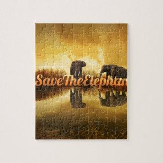 Save The Elephants Design Jigsaw Puzzle