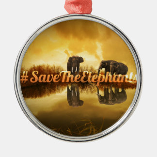 Save The Elephants Design Silver-Colored Round Decoration