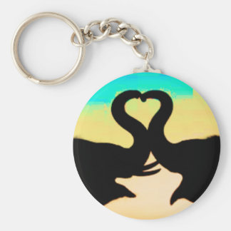 Save the Elephants heart trunks Basic Round Button Key Ring